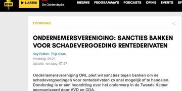 ONDERNEMERSVERENIGING: SANCTIES BANKEN VOOR SCHADEVERGOEDING RENTEDERIVATEN